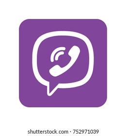 IM instant messenger phone handset icon with shadow. Violet phone handset in speech bubble icon. Vector.