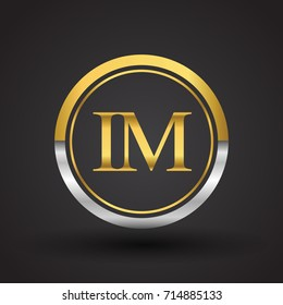 IM Letter logo in a circle, gold and silver colored. Vector design template elements for your business or company identity.