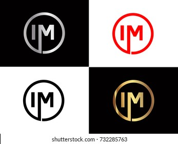 IM Logo. Letter Design Vector with Red and Black Gold Silver Colors