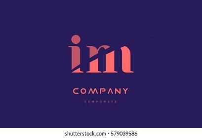 im i m alphabet small letter blue pink creative design vector company logo icon template