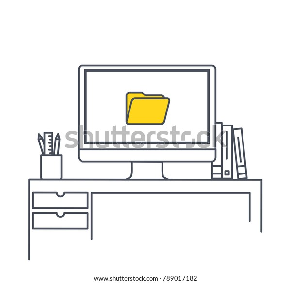 Prime Imac Computer Monitor On Office Desk Stock Vector Royalty Download Free Architecture Designs Ogrambritishbridgeorg