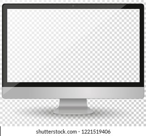 Imac desktop pc vector mocup. monitor display with blank screen isolated on background. Vector illustration