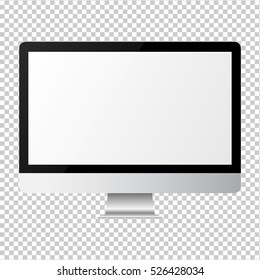 Imac style screen monitor for computer on transparent background