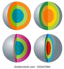 An image of a 3d layered sphere icon set.