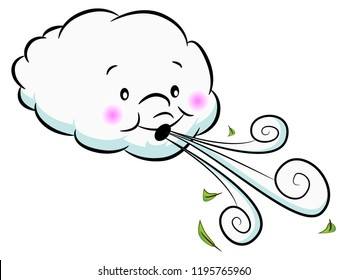 An image of a Adorable Cloud Blowing Wind.