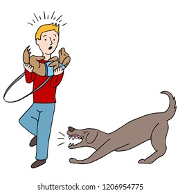 An image of a Agressive Barking Dog Attacking Man.