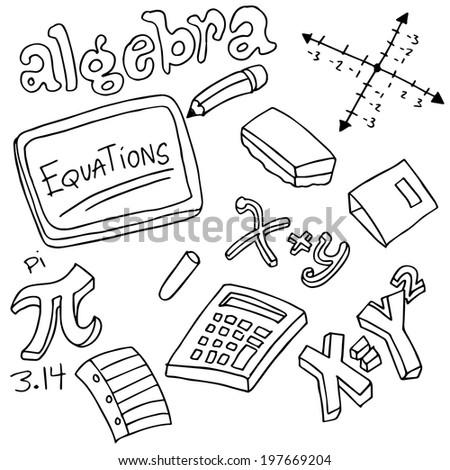 Image Algebra Symbols Objects Stock Vector Royalty Free 197669204