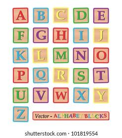 Image of alphabet blocks isolated on a white background.