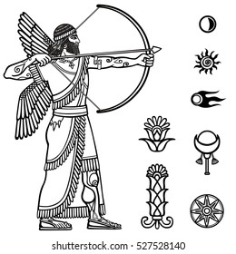 Image of the ancient archer. Full growth. Black and white drawing based on motives of Sumerian art, isolated on a white background. Space symbols. Vector illustration.