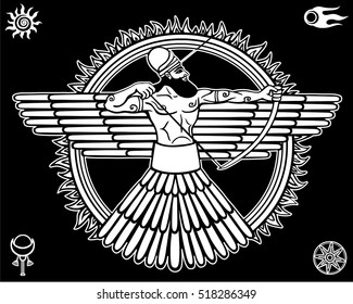 Image of an ancient deity.Set of esoteric symbols.  The white linear drawing isolated on a black background. Vector illustration.