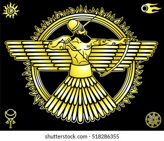 Image of an ancient deity.Set of esoteric symbols.  The yellow  drawing isolated on a black background. Gold imitation. Vector illustration.