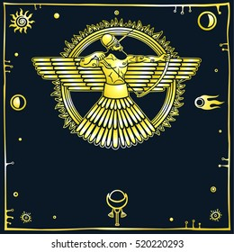 Image of an ancient deity. Winged archer. Black background, space symbols. Imitation of gold. Vector illustration.