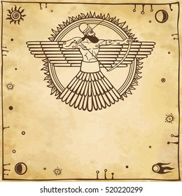 Image of an ancient deity. Winged archer. Background - imitation of old paper.Space symbols Vector illustration.