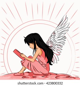 Image angel child to read a book in the shade of pink
