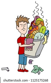 An image of a Angry Child Carrying Overflowing Basket of Dirty Laundry in need of washing.