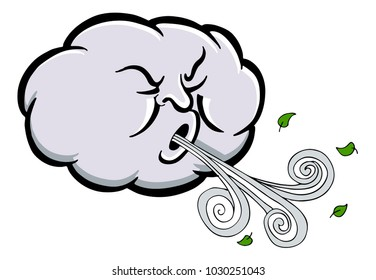 An image of a Angry Cloud Blowing Wind cartoon isolated on white.