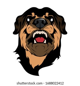 Image of angry rottweiler dog mascot logo. Malicious sentry dog in a prickly collar. Mascot of a head of angry rottweiler, a breed of domestic large dog. Rottweiler Metzgerhund.