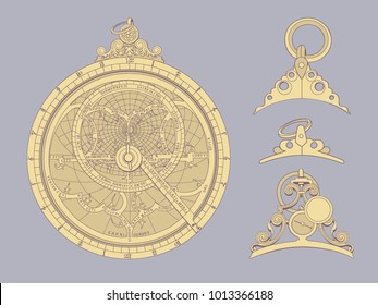 The image is an antique astrolabe
