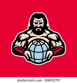 Image of the antique muscular, bearded man who is holding a globe. It can be used as a logo or mascots for sports organizations, company, gym or team.
