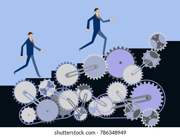 Image of arrow and gear. Business clip art.Gear and businessman clip art. Image of business.