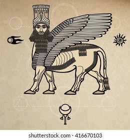 Image of the Assyrian mythical deity Shedu: a winged bull with the head of the person. Character of Sumer mythology. Space symbols. A background - imitation of old paper.