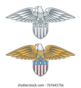 Image of the bald eagle with shield. American eagle with the usa flag. Vintage vector illustration.