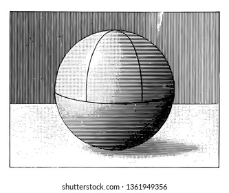 An image of a ball (sphere) with a quadrant diagram in it, vintage line drawing or engraving illustration.