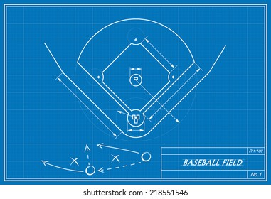 Baseball diamond images stock photos vectors shutterstock image of baseball field on blueprint transparency used malvernweather Image collections