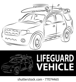 An image of a beach lifeguard vehicle line drawing.