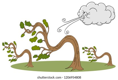 An image of a Bending Trees and Cloud Blowing Wind cartoon.