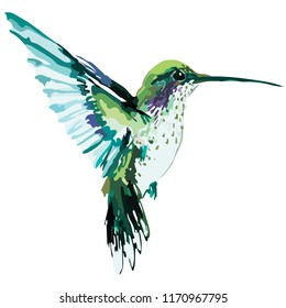 Image of a bird in blue green colors. Vector