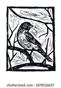 Image of a bird on a branch. Vector black and white linocut bird print.