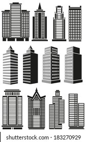 Image of black high-rise buildings and facades of buildings prospects.