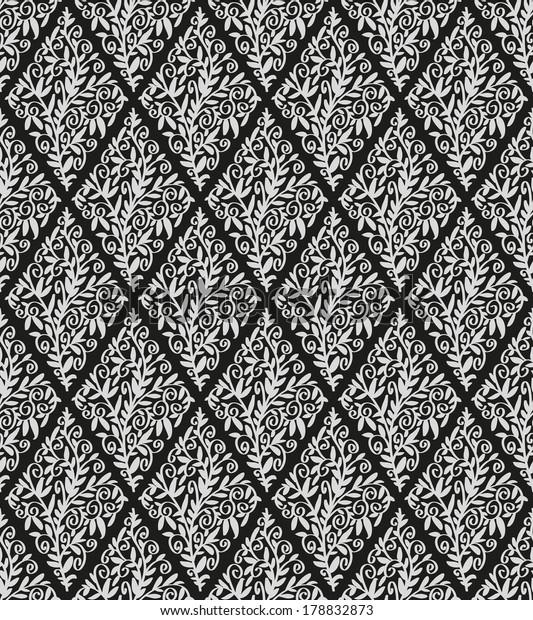 Image Black Wallpaper Form Diamonds Floral Stock Vector