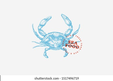 Image of blue crab, drawn by graphic lines on light background. Retro picture for menu of fish restaurants, markets and shops. Vector illustration of vintage engraving.