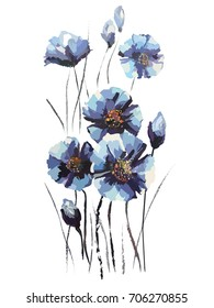 image of blue flowers in paints. Vector