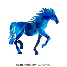 Image of an blue horse on white background