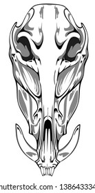 Image of a boar skull that can be used for printing on T-shirts, as a logo or for tattoos.