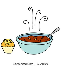 An image of a Bowl of chili and cornbread muffin.