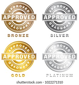 An image of a Bronze Silver Gold Platinum Approved Stamp seal of approval icon.