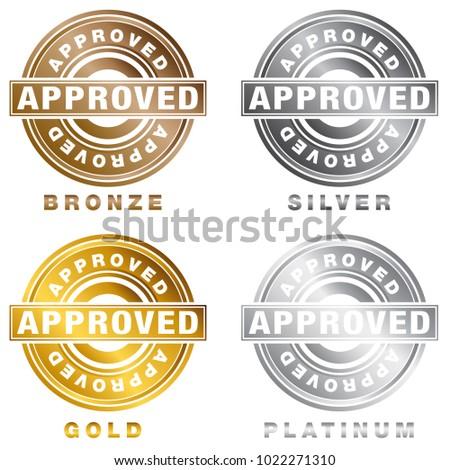 Image Bronze Silver Gold Platinum Approved Stock Vektorgrafik