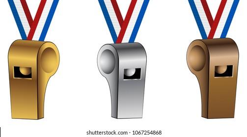 An image of a Bronze Silver Gold USA Ribbon Lanyard Whistles set.
