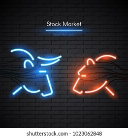 Image of a bull and bear made of neon lamps on a background in the form of a dark brick wall. Stock Market logo or emblem with bright neon light.