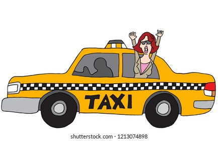 An image of a Business Woman Rider Taxi Car Vehicle.