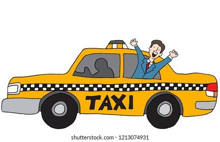 An image of a Businessman Rider Taxi Car Vehicle.