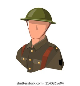Image, bust of a soldier of the British army during the first world war. Dressed in a helmet and khaki uniform. Well suited as an avatar or icon. Vector. Colors are easily corrected