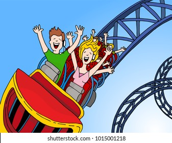 An image of a Call Center Operators Riding Rollercoaster.