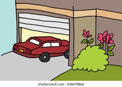 An image of a car parking in a garage.