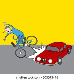 An image of a cartoon car hitting a pedestrian on a bike.