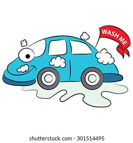 An image of a cartoon car that is happy it is being washed.
